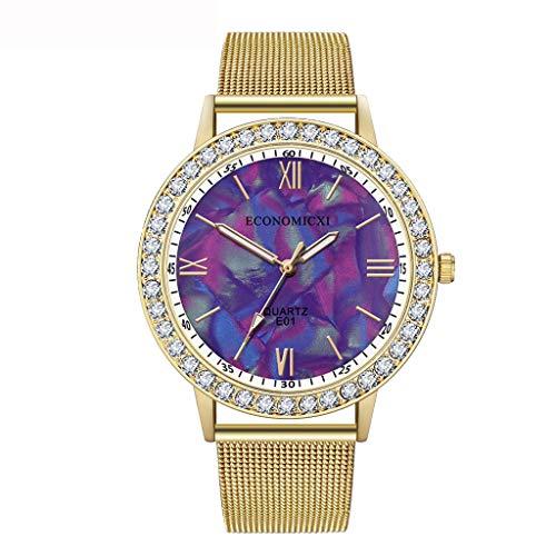 (WoCoo Fashion womens Luxury Quartz Watch Rhinestone Roman numerals Dial Watches with Steel Mesh Band Dress Wristwatches(Red))