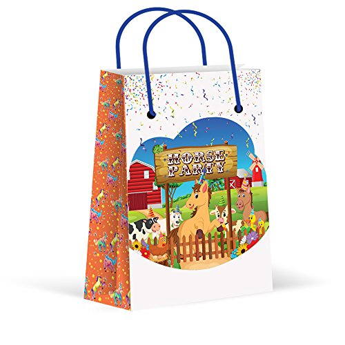 (Premium Horse Party Bags, Treat Bags, New, Gift Bags,Goody Bags, Horse Party Favors, Horse Party Supplies, Decorations, 12 Pack)