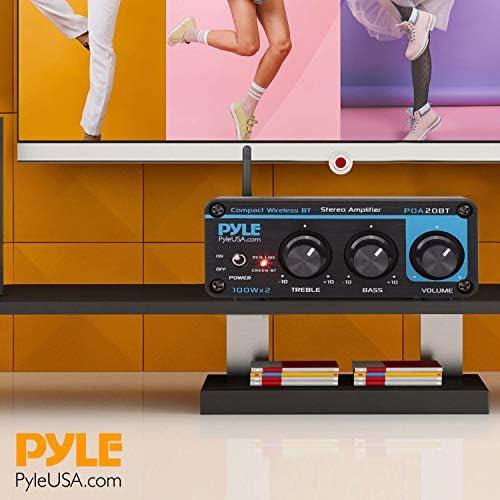 Bluetooth HiFi Mini Audio Amplifier – Class D Digital Desktop PC Stereo Amplifier Receiver (2 x 100 Watt MAX) Aluminum Diecast- Pyle PDA20BT 51s2drOhPaL