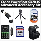 Advanced Accessory Kit For Canon PowerShot SX20IS SX20 IS 12.1MP Digital Camera Includes 8GB High Speed SD Memory card + USB 2.0 High Speed Card Reader + 4 AA High Capacity Rechargeable NIMH Batteries And AC/DC Rapid Charger + Deluxe Case + LCD Screen P