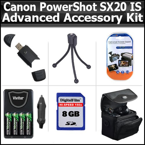 Advanced Accessory Kit For Canon PowerShot SX20IS SX20 IS 12.1MP Digital Camera Includes 8GB High Speed SD Memory card + USB 2.0 High Speed Card Reader + 4 AA High Capacity Rechargeable NIMH Batteries And AC/DC Rapid Charger + Deluxe Case + LCD Screen P by ButterflyPhoto