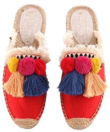 U-lite Women's Frayed Red Tassel Pom pom Embroidered Canvas Mule Shoes Espadrilles Flats 10 by U-lite (Image #3)