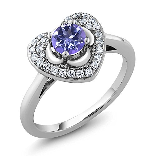 0.92 Ct Round Purple Blue Mystic Topaz 925 Sterling Silver Heart (Blue Topaz Purple Ring)