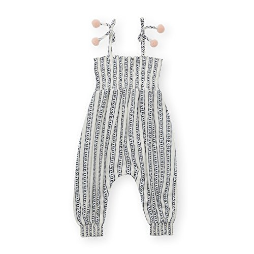 Jessica Pant Suit - Jessica Simpson Girl's One Piece Thin Shoulder Strap Cuffed Ankles Romper Arrow Stripe 4T