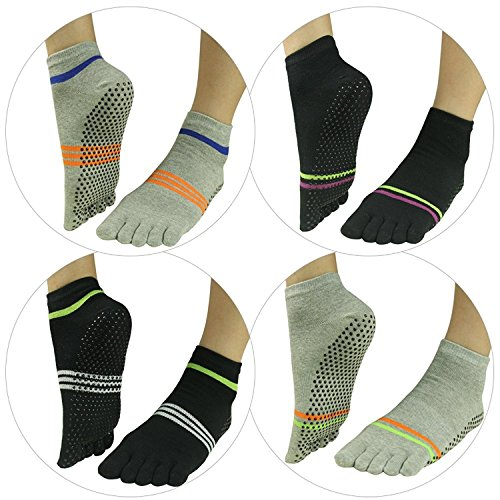 J'colour Ankle amp;Men Slip Athletic Pairs Stripes Yoga Socks 004 Different Gripes Sports Barre amp;grey Non Socks 4 2 for Pilates Women Black rfrw0qSp