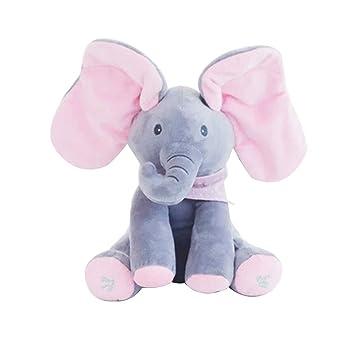 YeahiBaby Elefante electrónico Juguetes Musicales Peluche Animales de Peluche Juguete Interactivo Elefante para niños pequeños (