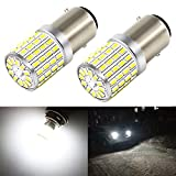 Phinlion 1000 Lumens Super Bright 6000K Xenon White 3014 72-SMD 1157 2357 7528 BAY15D LED Light Bulbs for Backup Reverse Turn Signal Lights