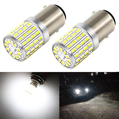 Phinlion 2000 Lumens LED 1157 Bulbs Super Bright 3014 72-SMD 2357 7528 BAY15D 1157 LED Bulb for Backup Reverse/Turn Signal/Brake Stop Tail Lights, 6000K Xenon White ()