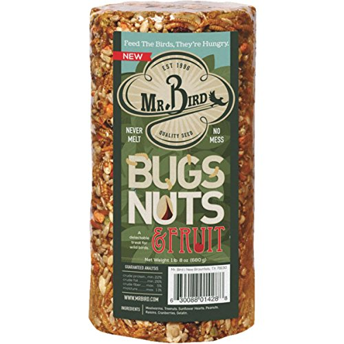 Mr Bird's Bugs Nuts & Fruit Cylinder Block 24 oz Bird Seed Feed