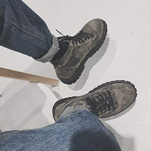 Shukun Herren Stiefel Martin Stiefel Männer Pu Camouflage Stiefel Hohe Schuhe Jugend Retro Casual Werkzeug Militärstiefel