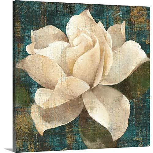 Gardenia Blossom Turquoise Canvas Wall Art Print, 16