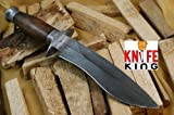 "MASSIVE SALE"" Knife King Custom damascus bowie knife. Burl wood handle. Damascus guard and pomel, Outdoor Stuffs"