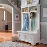 Entryway Hall Tree, Coat Rack,With Storage Bench,White
