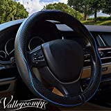 Valleycomfy 14.25 inch Auto Car Steering Wheel Covers Black with Blue Lines- Genuine Leather for Prius Civic