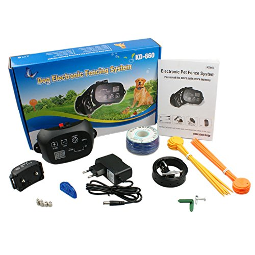Convenient Auto Static Shock Beep Electric Dog Fence And Rechargeble Collar Security Pet System Stopping Dog Running