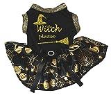 Petitebella Puppy Clothes Dog Dress Witch Please Black Top Gold Cobweb Tutu (X-Small)