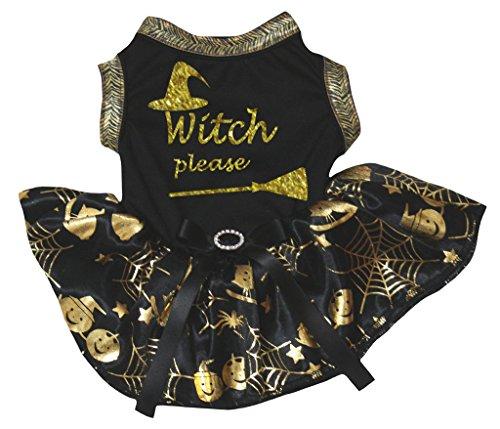 Petitebella Puppy Clothes Dog Dress Witch Please Black Top Gold Cobweb Tutu -