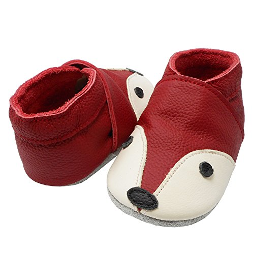YIHAKIDS Soft Sole Baby Shoes Infant Toddler Leather Moccasins Cute Fox Slippers (4-4.5 US/0-6 MO./4.7in, Red) - Image 4