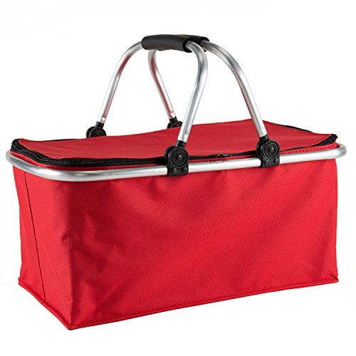 Gregarder Picnic Basket Collapsible Shopping Folding Insulated Bag Large Capacity Market Baskets (Red) by Gregarder