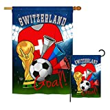 Ornament Collection S192115-BO World Cup Switzerland Soccer Interests Sports Impressions Decorative Vertical House 28″ X 40″ Garden 13″ X 18.5″ Double Sided Flags Set Printed in USA Multi-Color For Sale