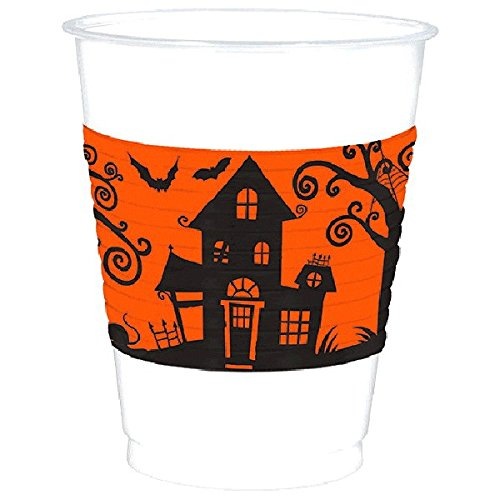 Amscan | Party Tablewares | Frightfully Fancy Plastic Cups  | 25 in a pack | 16 oz | Orange floral filigree ()