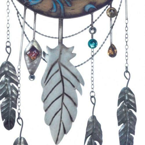 RubyShop724 Crescent Moon Wall Dream Catcher w/Arrowhead, Feathers & Jewels Iron 28'' Long