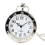 Shirleyle White Dial Vintage Uncovered Pocket Watch With Chain For Women Men