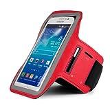 SumacLife Hybrid Sports Armband w/ Key Slot for ZTE Boost Max / ZTE Max / ZTE Grand S / ZTE Grand Memo II LTE / ZTE Imperial / ZTE Supreme (Red)