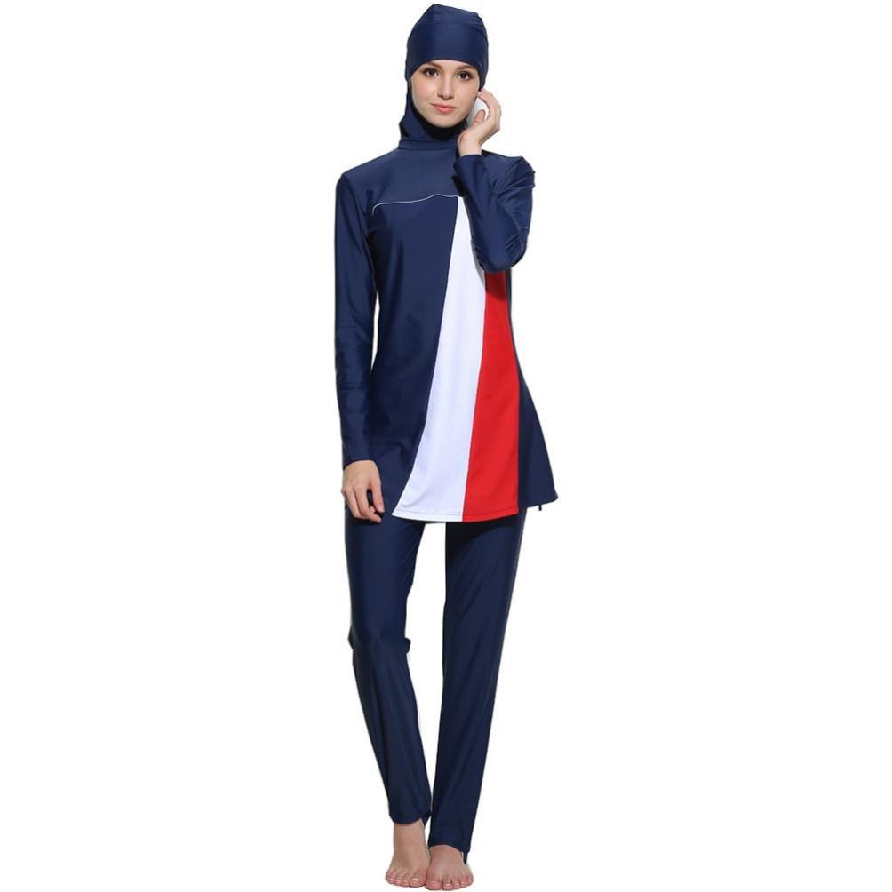 Women Full Coverage Muslim Swimwear Islamic Swimsuit Beach Swimsuits Costume Beachwear (Dark Blue, S)