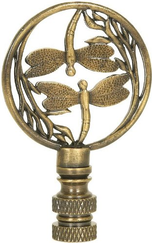 Double Dragonfly Antique Brass Finial