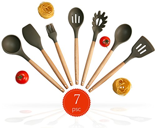 Silicone Kitchen Utensil Set. 7-Natural Acacia Wooden.Spatula Set.Spoon Set. Silicon Cooking Utensils With Spatula, Soup Ladle, Spaghetti Spoon.Kitchen Tools Gadgets