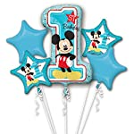 Mickey Mouse Age 1/1st Birthday Foil Balloon Bouquet Cluster