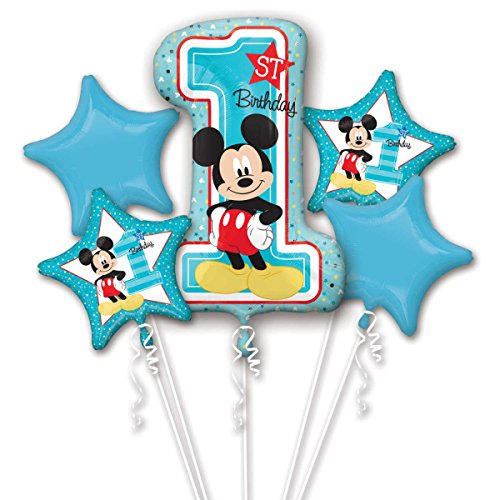 Mickey Mouse Age 1/1st Birthday Foil Balloon Bouquet Cluster -