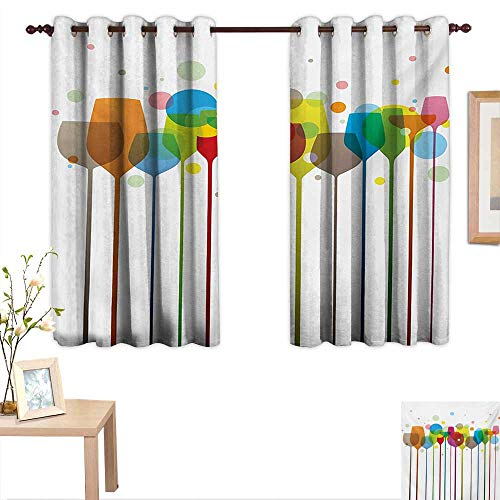 Winery Decorative Curtains for Living Room Colorful Wine Glasses Alcohol Drink Beverage Fizzy Champaigne Party Bar Art Design 55