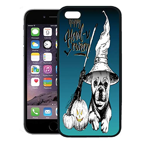 Semtomn Phone Case for iPhone 8 Plus case,Halloween French Bulldog Dog Wearing The Witch Hat Broom and Pumpkin Lanterns Decorated Lettering iPhone 7 Plus case -