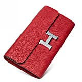 FBLUE New High -Capacity Women 's Long Wallet'' H'' Buckle Wallet Leather Handbags FB022 (Red)