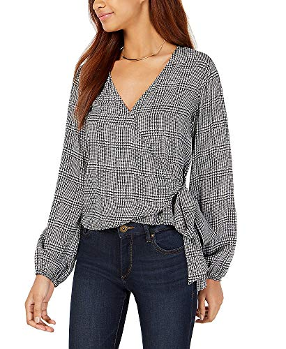 PROJECT 28 NYC Houndstooth-Print Wrap Blouse (Black Menswear, S)