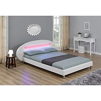 ORION Lit LED Adulte X Cm Blanc Amazonfr Cuisine Maison - Lit orion 160x200