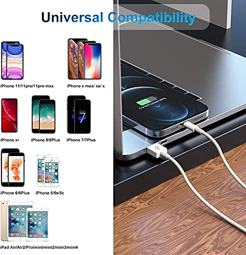 3 Pack Apple MFi Certified iPhone Charger Cable 10ft, Apple Lightning to USB Cable Cord 10 Foot, 2.4A Fast Charging,Apple Phone Long Chargers for iPhone 12/11/11Pro/11Max/ X/XS/XR/XS Max/8/7/6
