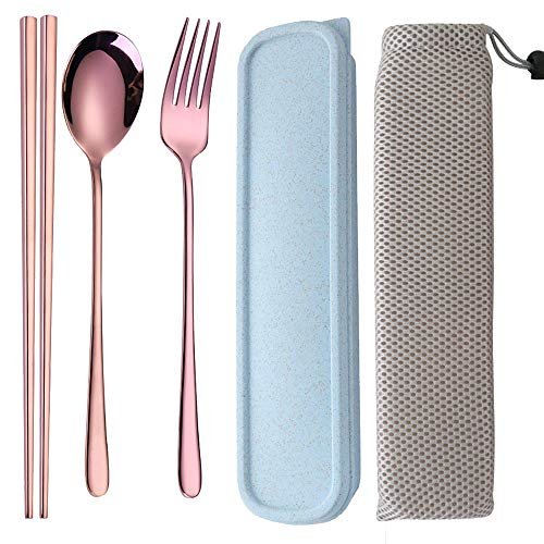 (Portable Reusable Travel Stainless Steel Fork Spoon Chopstick with case,Travel/Camping Cutlery Set with Travel Box 3 Piece Lunch Utensils (rose)