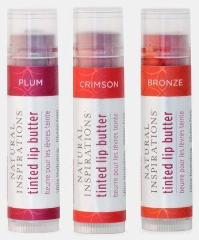 Natural Inspirations Moisturizing Tinted Lip Butter 3 Piece Set - Crimson, Plum, - Tinted Balm Butter