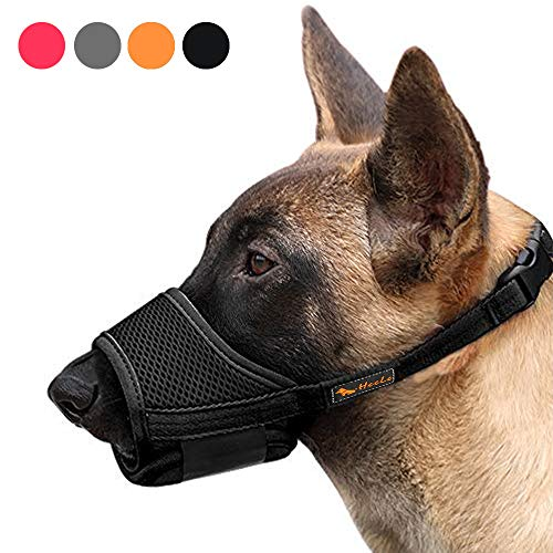 Heele Dog Muzzle Nylon Soft Muzzle Anti-Biting Barking Secure,Mesh Breathable Pets Mouth Cover for Small Medium Large Dogs 4 Colors 4 Sizes (L, Black)