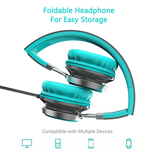 Elecder i39 Headphones with Microphone Foldable Lightweight Adjustable On Ear Headsets with 3.5mm Jack for Cellphones…