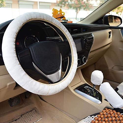 Pink Forala 1 Set 5 Pcs Car Steering Wheel Cover Handbrake Cover Gear Shift Cover Set Seat Belt Shoulder Pads Faux Wool Warm Winter