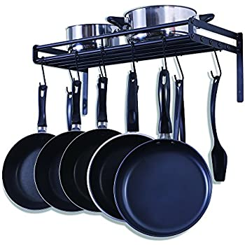 Amazoncom ZESPROKA Kitchen Wall Pot Pan Rack With 10 Hooks