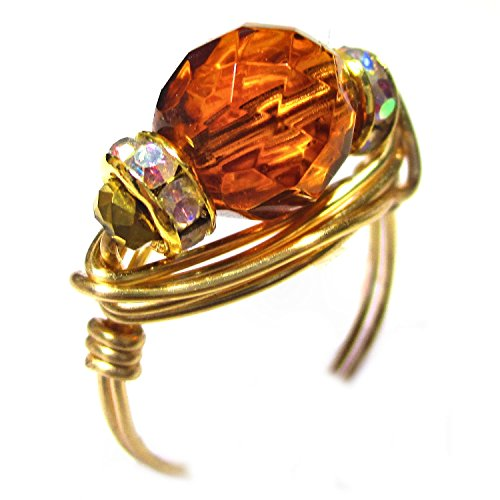 Honey Amber Czech Art Glass Gold Wire Wrap Ring by Designer Wire Jewelry