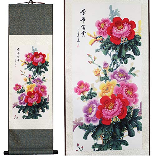 SweetHome Asian Silk Scroll & Picture Scroll & Wall Scroll Calligraphy Hanging Artwork (Beautiful Peony Flower) Blossom Scroll Wall Art