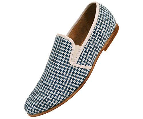 Amaliene Mens Kle Tilfeldige Loafers I Vevet Brodert Design Woodlike Såle Stiler Trey, Felle, Harmon Blå / Houndstooth