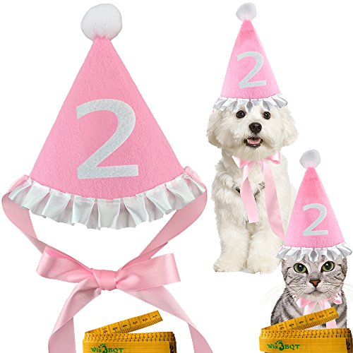 Pink Pet Dog Cat Birthday Holiday Party Hat Headwear Costume Accessory with a White Ball and Lace for Small Medium Dogs Cats Pets (2) - Holiday Party Dog Dress