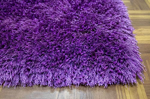 Contemporary Polyester Rug - LA Epic Thick Thin Pile Soft Fluffy Furry Hairy Large Plush Contemporary Braided Shag Shaggy 8-Feet-by-10-Feet Polyester Made Area Rug Carpet Rug Purple Color